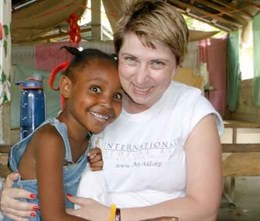 Tiffany makes a friend in Haiti