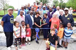 A ribbon cutting at the new Ambrose Kennedy park in Baltimore City!