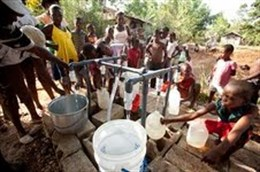 Haitians receiving purified safe water after earthquake