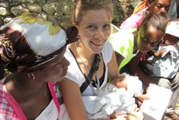 Nurse Cezanne in Haiti with baby Maria Cezanne Merline, named after the doctor, nurse, and organization that helped deliver the baby.