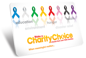 Charity Gift Card for over 1000 charitable causes. Print your own from your computer.